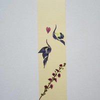 "Handmade unique bookmark ""Conquering the heart"" - Pressed flowers bookmark - Unique gift - Paper bookmark - Original art collage."