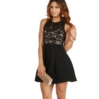 Black Falling In Love Skater Dress