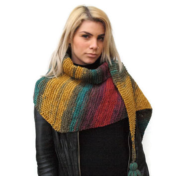 Knit multicolor triangle woman scarf,  knit scarf, ombre scarf, women accessories, wool scarf
