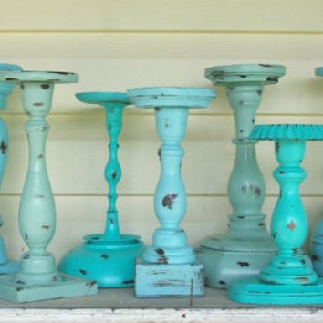 9 Shabby Chic Distressed Beach Themed Candle Holders Robins Egg Blue, Sea Foam Green & Jamaican Sea