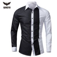 Men Shirt Long Sleeve 2016 Brand Shirts Men Casual Male Slim Fit Fashion Spell Color Chemise Mens Camisas Dress Shirts 4XL WEYOR