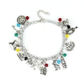 Movie Jewelry Alice In Wonderland Charm Bracelet For Women Silver Crystal Bracelet Bangle Women's Christmas gifts