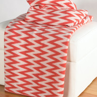 "Transitional Coral/White Throw (50"" x 60"")"