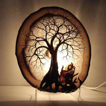 Tree Of Life Grove Spirit sculpture Natural Brazil geode Agate slice, Garnet, Moss Agate and more Gemstone LAMP, original Art