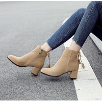 Chunky Heels Faux Suede Tassel Short Boots