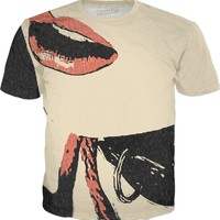 Lips, ropes and collar, fetish slave girl, kinky tee shirt