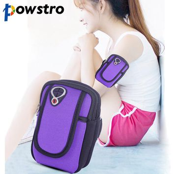 Powstro Sports Armband Bag Phone Money Card Bags Holder 2 Pockets Earphone Hole for 7 to 11 inches Smartphone MP3 MP4 Keys