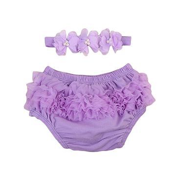 Newborn Baby Girl Lace Ruffle Diaper Pants Tutu bloomer Bottoms Shorts +Headband Baby Clothing