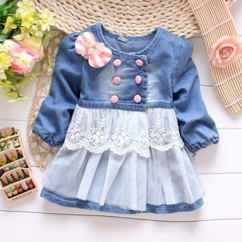 new Autumn kid's Children Baby Girls Denim Princess Lace Bow Coat Jacket Outwear Cardigan Y1498