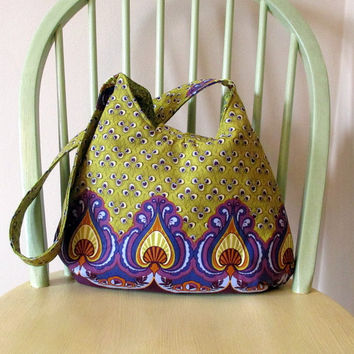 Green And Purple Shoulder Bag , Boho Shoulder Bag , Shoulder Bag With Pockets