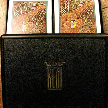 KEM Playing Cards in Box, Jade Design, Double Deck, Complete, Original Plastic Cards, Hard Plastic Case