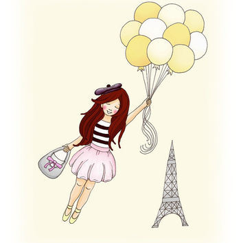 Bon Voyage Paris Girl with Balloons Feminine Art by wonderlaneart