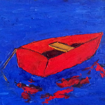 Impressionist RED BOAT Lake View Plein Air Painting Landscape Art Lynne French 8x10 Free Shipping