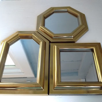 Set of Small Accent Mirrors, Wall Mirrors, Mirror, Octagon, Square Rectangle, Vintage, Mid Century Modern