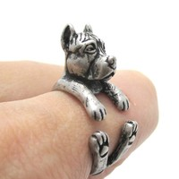 Realistic Pit Bull With Cropped Ears Shaped Animal Wrap Ring in Silver | Sizes 5 to 9