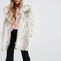 Glamorous Shawl Collar Coat In Snow Leopard Faux Fur at asos.com