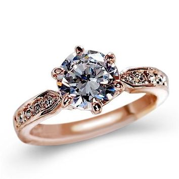 1.75ct Engagement Austrian Crystal Ring - Rose gold & Silver Plated