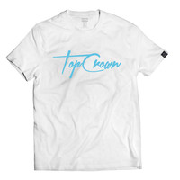 Top Crown Clothing Autograph Logo Tee in White - Fashion Style T-Shirt , Sizes S - XL , New, Signature shirt, New Clothing Brand, Soft Shirt