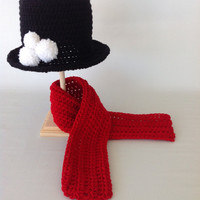 Baby Snowman Set - Crochet Top Hat and Scarf - Baby Shower Gift - Photo Prop - Baby Boy Hat - Baby Girl Hat - Newborn - Christmas Set
