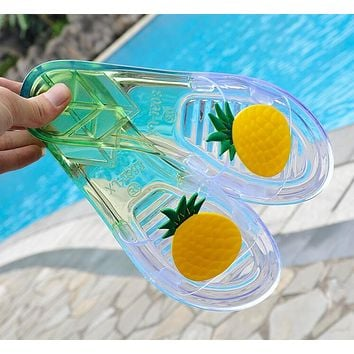 Fashion New Women Cute Pineapples Pattern Transparent Crystal Sandal Slipper Shoes I12320-1