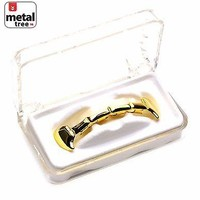 Jewelry Kay style Men's Vampire GRILLZ Plain Fangs 14k Gold Plated Top Half Teeth Dracula L020HF G
