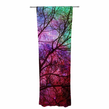 "Suzanne Carter ""Starry Night"" Purple Pink Decorative Sheer Curtain"