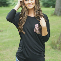 Slightly Flashy Pocket Top (Black)PREORDER