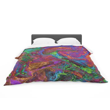 """Tobe Fonseca """"Psychedelic Cosmo Nightmare Gl"""" Multicolor Abstract Digital Mixed Media Featherweight Duvet Cover"""