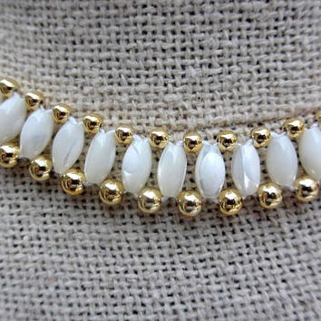 Italian Mother of Pearl Shell Necklace w Bracelet Vintage Jewelry
