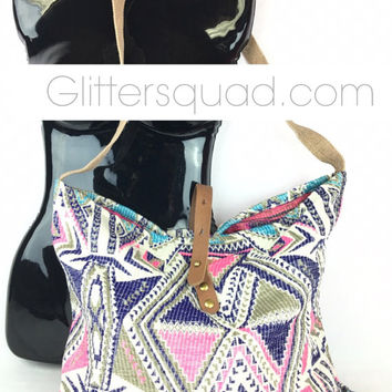 Monogrammed  Tapestry Tribal Sack Bag with leather strap.