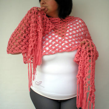 Secret Garden Pink Lace Wrap Hand Crocheted Stole Woman Trendy Shoulder Wrap NEW