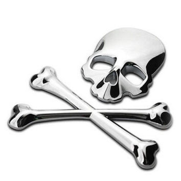 3D 3M Skull Metal Skeleton Crossbones Car Motorcycle Sticker Label Skull Emblem Badge car styling stickers accessories decal