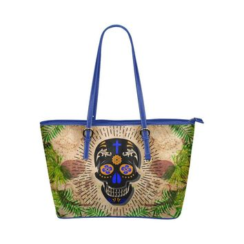 Hip Water Resistant Small Leather Tote Bags Sugar Skull #13 (5 colors)