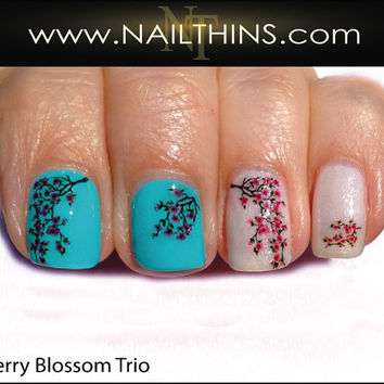Cherry Blossom Nail Decal Cherries Trio Nail Art NAILTHINS