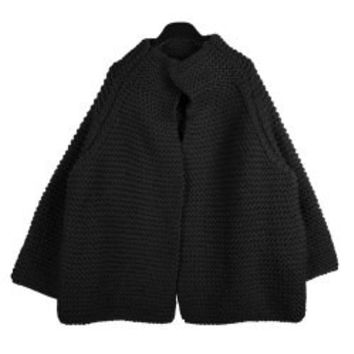Sweet Stand Collar Chunky Knits Solid Color Long Sleeve Women's Cardigan