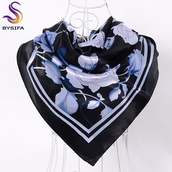 [BYSIFA] Brand Black Peony Square Scarves Head scarves 90*90cm Satin Hair Scarves Autumn Winter Cheap Women Silk Scarf Shawl