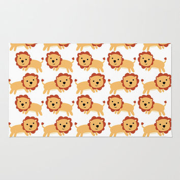 Nursery Floor Rug - Babys Room Rug - Lion Childs Throw Rug - Nursery Decor - Lots of Lions - Made to Order
