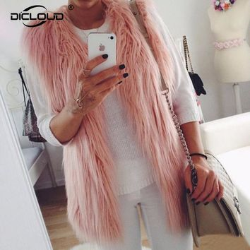 Plus size XXXL Long Faux Fur Vest Women 2017 Chic Autumn Winter Fluffy Sleeveless Fur Jackets Coats Thicken Warm Outerwear
