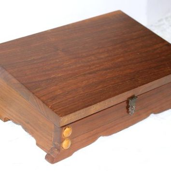 Wooden Writing Slope Desk Box | Artist Box Felted Interior | Desk Storage Box Lockable | Desk Accessory | Vintage Office