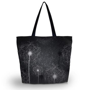 Dandelion Eco Reusable Women Shopping Bag Beach School Tote Shoulder Bag Purse Handbag Folding Grocery Packing Recyclable Bag