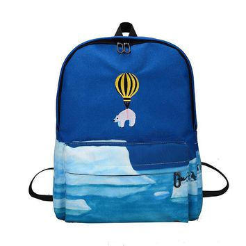 Balloon Animal Embroidery Backpack Landscape Printing Backpack Printing School Bags for Teenage Girls Cartoon Canvas Book Bags