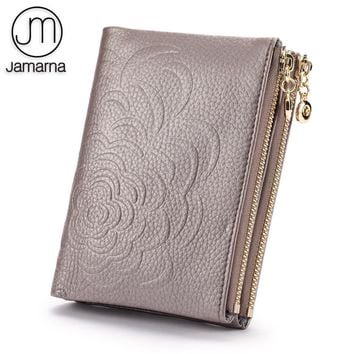 Jamarna Wallet Female Women Wallets With Zipper Genuine Leather Women Wallets Floral Pattern Coin Purse Card Holders