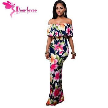 Dear-Lover Off-the-shoulder Maxi Dresses Summer 2017 Holiday Party Navy Blue Roses Print Gowns Vestido Festa Largo Robes LC61189
