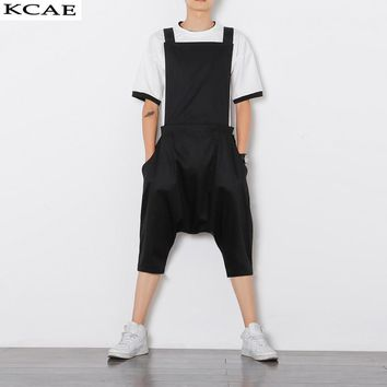 Size M-XL Mens Jumpsuit Fashion Male Bib Pants Overalls Casual Loose Harem Pants Hip-Hop Low Crotch Trousers Black Jumpsuit