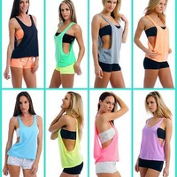 WOMEN'S / JUNIORS SEXY DRAPE TANK TOP WITH OPEN SIDES NEON COLORS PLAIN SHIRT