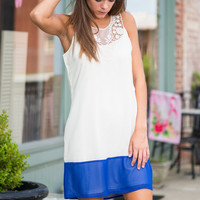 Turn To Muse Dress, Ivory-Blue