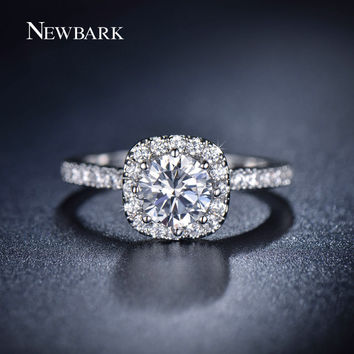 NEWBARK 0.75ct CZ Rings Prong Setting Surround With Tiny CZ  Paved Silver Color Engagement Ring Women Jewelry Gifts