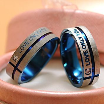 "Fashion Jewelry 316L Stainless Steel Simple Circle ""Love Only You"" Couple Rings,Wedding Ring,Engagement Rings -171206"