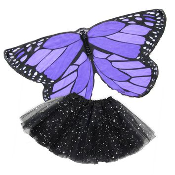 Butterfly Wing Dance Cape Kids Dress Up with Tutu — Purple