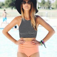 Stripped Sexy Fashion Halter Top Bikini Swimwear _ 112
